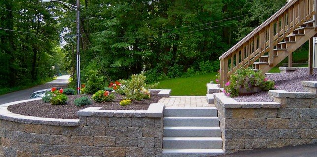 Retaining wall masonry in Spencer, MA near Worcester landscaping